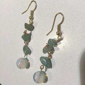 Handmade aventurine chip moonstone earrings